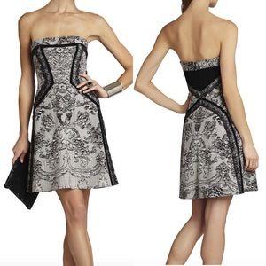 BCBG Sophiana Black white lace fit flare dress 8